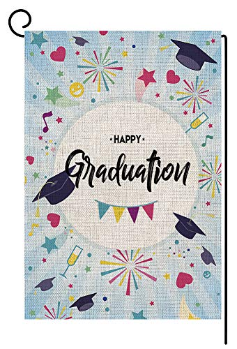 Happy Graduation Cap Small Garden Flag Vertical Double Sided 12.5 x 18 Inch Graduate Celebrate Fireworks Burlap Yard Outdoor Decor -
