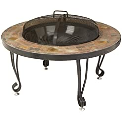 Firepits AmazonBasics 34-Inch Natural Stone Fire Pit with Copper Accents firepits