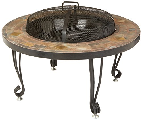 AmazonBasics 34-Inch Natural Stone Fire Pit with Copper Accents - Outdoor fire pit made from natural stone Measures 33.9 x 23.6 inches (LxH) Includes log grate, fire tool and fire screen - patio, outdoor-decor, fire-pits-outdoor-fireplaces - 51gh%2BgcRhfL -