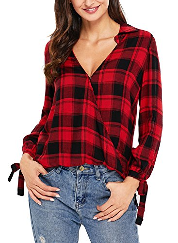 BLENCOT Women's V Neck Long Sleeve Plaid Shirts Casual Loose Blouse Tops-Red Small