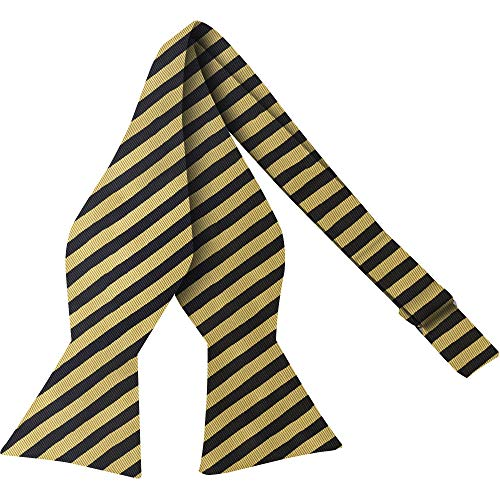 Luther Pike Self Tie Woven Striped Bow Ties For Men Tuxedo Bowtie Gold & Navy Blue Bow Tie