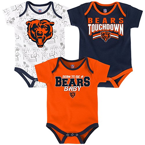 Outerstuff NFL Infant Playmaker 3 Piece Onesie Set-Deep Obsidian -18 Months, Chicago - Bears Chicago Baby Clothes