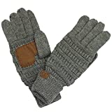 Hatsandscarf CC Exclusives Women Solid Ribbed Glove with Smart Tips (G-20) (LT Mel Grey_Prime)