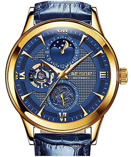 PASOY Mens Blue Watch 21 Jewel Automatic Movement 3D Dial Gilded Case Sapphire Tourbillon Sport Watches
