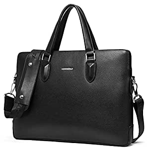 BOSTANTEN Leather Briefcase Shoulder Laptop Business Bag for Men Black