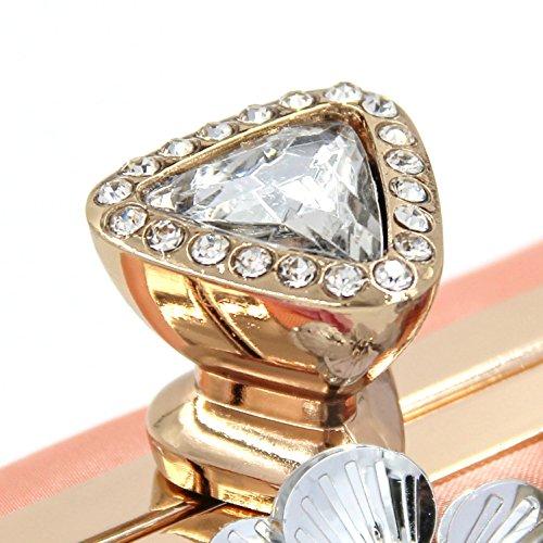 Imitación flor Iris Boda B A De Noche cristal bolsos Poliéster Bolsos Para Mujer Embrague diamantes Bolso Perla Imitación Tutu Arco q7nZOH