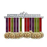 Victory Hangers Challenge Accepted Medal Hanger Display V2 - Motivational Medal Holder - 100% Stainless Steel Display Rack for Champions!