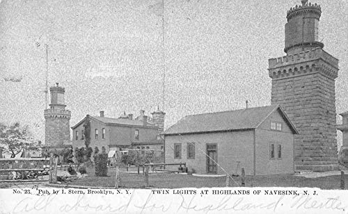 (Navesink New Jersey Twin Lights at Highlands Lighthouses Postcard JE228613)