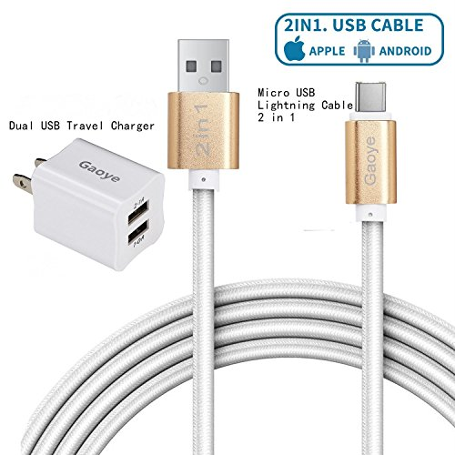 iPhone Charger, Dual USB Charger, Micro USB Cable, Gaoye Metal 2 in 1 Lightning Cable (6.6ft) 2 Meters [Apple MFi...