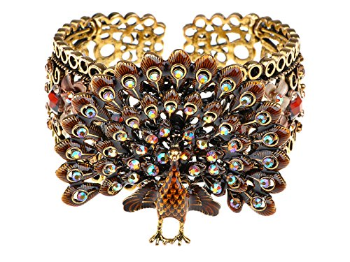 Alilang Womens Exotic Smoked Topaz Brown Crystal Rhinestone Peacock Bird Turkey Bangle Bracelet Cuff -