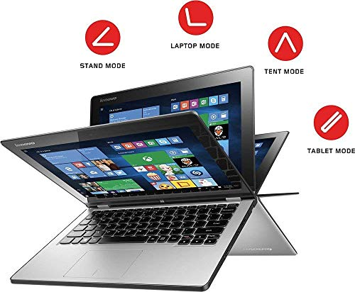 "2018 Flagship Lenovo Yoga 2 11.6"" HD IPS Touchscreen 2-in-1 Business Laptop/Tablet, Intel Core i3-4012Y 1.5GHz 4GB RAM 128GB SSD Dolby Audio Voice Control AccuType Keyboard Win 10 (Silver)"