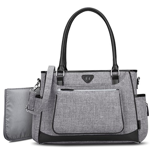 Diaper Bag, BRINCH Stylish Multi-Function Shoulder Baby Diaper Tote Bag Portable Shopping Handbag with Changing Pad,Stroller Straps and Insulated Pocket,Grey