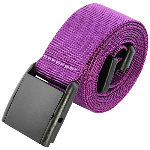 - moonsix Nylon Web Belts for Men,Utility Military Tactical Duty Belt with Plastic Buckle, Purple, Style 5