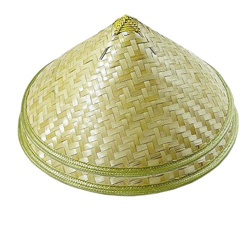 Sunny Hill Pack of 2 Traditional Chinese Adult Oriental Bamboo Straw Cone Garden Fishing Hat Adult Rice Hat -