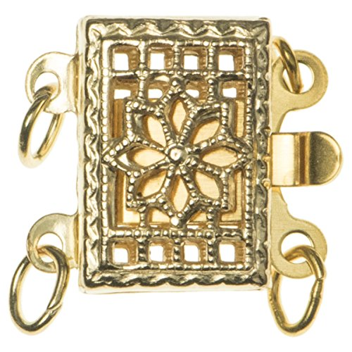 14k Gold Filled Classic Rectangular Flower Filigree 2-strand Pearl Box Clasp 11.5mm Connector Switch Bead