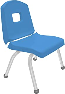 """product image for Creative Colors 1-Pack 12"""" Kids Preschool Stackable Split Bucket Chair in Bright Blue with Platinum Silver Frame and Ball Glide"""