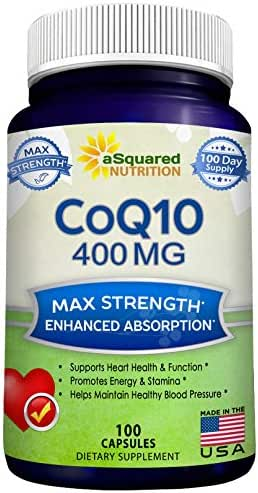 CoQ10 (400mg Max Strength, 100 Veggie Capsules) - High Absorption Coenzyme Q10 Ubiquinone Supplement Pills, Extra Antioxidant CO Q-10 Enzyme Vitamin Tablets, Coq 10 for Healthy Heart & Blood Pressure
