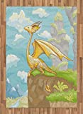 Dragon Area Rug by Lunarable, Fantastic Winged Animal on Cliff Hand Drawn Landscape for Children Kids Room Design, Flat Woven Accent Rug for Living Room Bedroom Dining Room, 5.2 x 7.5 FT, Multicolor