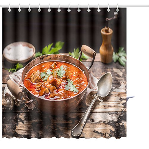 - MuaToo Shower Curtain Goulash or stew in Copper pan with Spoon on Rustic Kitchen Table Over Dark Wooden Background Graphic Print Polyester Fabric Bathroom Decor Sets with Hooks 72 x 78 Inches