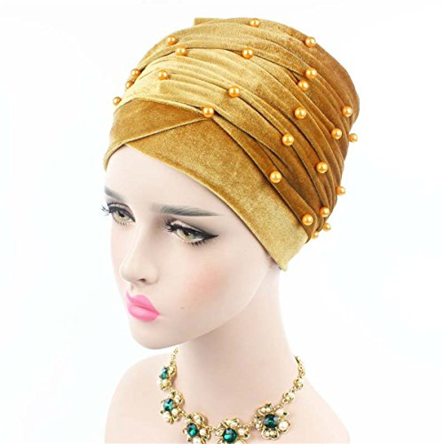 - Qhome Womens Luxury Beaded Pearled Velvet Long Head Wrap Turban Hijab Long Tube Head Scarf Tie