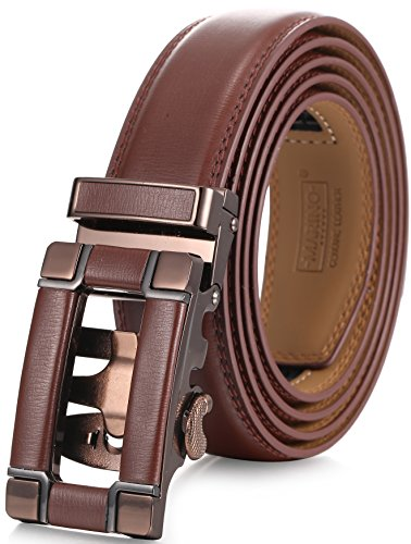 Marino Ratchet Click Belt for Men, Designer Mesn's Leather Dress Belt with Open Automatic Buckle, Enclosed in an Elegant Gift Box - Brown 147 - Custom: Up to 44