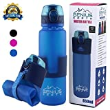 FOLDABLE WATER BOTTLE - Collapsible, Portable, Silicone Drink Bottle for Hiking, Sports & Travel. Lightweight, Reusable Bottles for Men, Women and Kids. BPA Free. 22oz (Blue with Safe Lock Metal Clip)