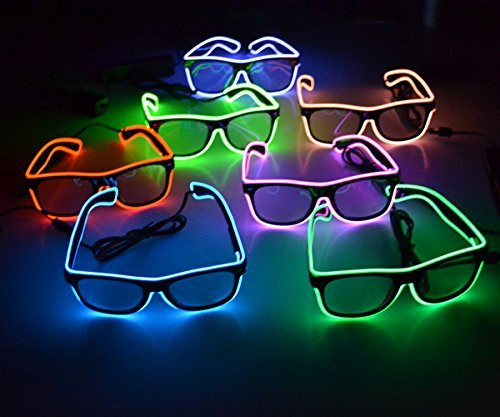 5 PC Assorted El Wire Glasses Shades - w/AAA Battery Pack - 3 Options Including Sound Activated]()
