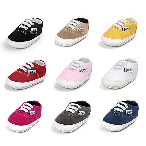 Meckior Infant Baby Boys Girls Canvas Toddler Sneaker Anti-Slip First Walkers Candy Shoes (12-18 Months, B-red)