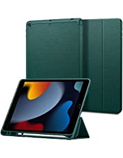 Spigen Urban Fit ontworpen voor iPad 10.2-hoes, iPad 8e generatie hoesje (2020) / iPad 7e generatie hoesje (2019) met potloodhouder - Middernachtgroen