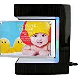QBABY E Shaped Magnetic Floating Photo Frame Magnetic Levitation Anti Gravity With Led Light Novelty Toy Gift for Father's Day Gift Home Office Decoration