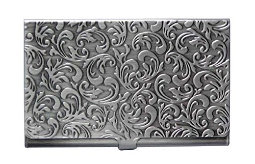 Metal Damask Embossed Business Card Case (Antique Silver Tone) Antique Silver Card Case