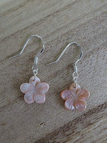 - vanyjewl VANY Pink Plumeria Earrings- Flower Earrings-Gifts for her- Mother of Pearl- Shell- Hawaii- Sterling Silver- Silver- Dangle Earrings-Pink