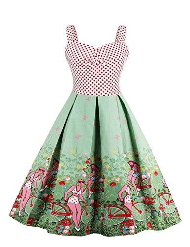 Claro para Sin mangas mujer Verde trapecio Vestido VKStar x4nA0TE