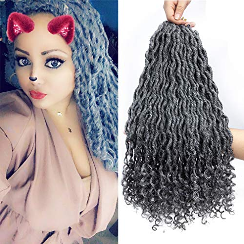 6 Pcs/Lot 20 Inch Grey Wavy Faux Locs Crochet Hair Deep Wave Braiding Hair with Curly Ends Crochet Goddess Locs Twist Hair Curly Wavy Synthetic Braiding Hair Extensions ()
