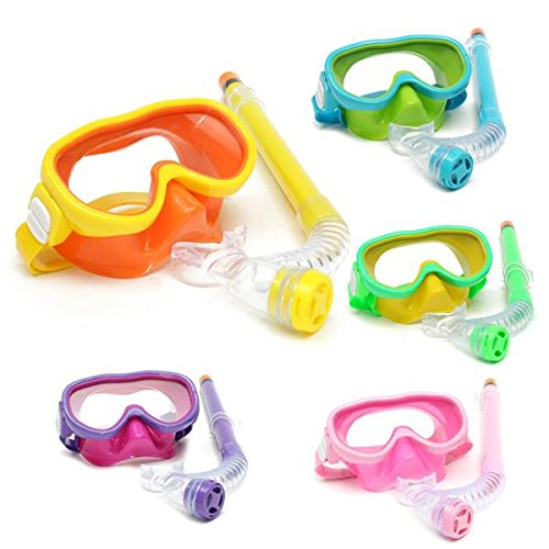 Silicone Professional Snorkel (Brand new Children Professional Silicone Diving Goggles Set Glasses Mask Swimming Diving Snorkel Breathing Tub - Green)