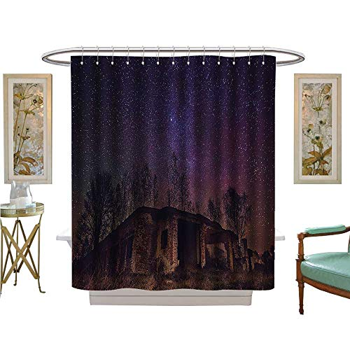 Leigh R. Avans Shower Curtains 3D Digital Printing Underground of Rock Building with Star Sky Cosmos Galaxy Bathroom Set with Hooks (Tie Leigh Silk)