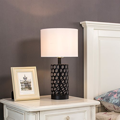 Wtape Black Hollow Out Base Modern Style Bedroom Table Lamp, Living Room Desk Lamp with White Fabric Shade (Lamp Table Base Black)