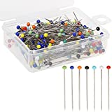 Pengxiaomei 250 Pcs Glass Ball Head Pins, Multicolor Quilting Sewing Pins 38mm for Dressmaker with Box