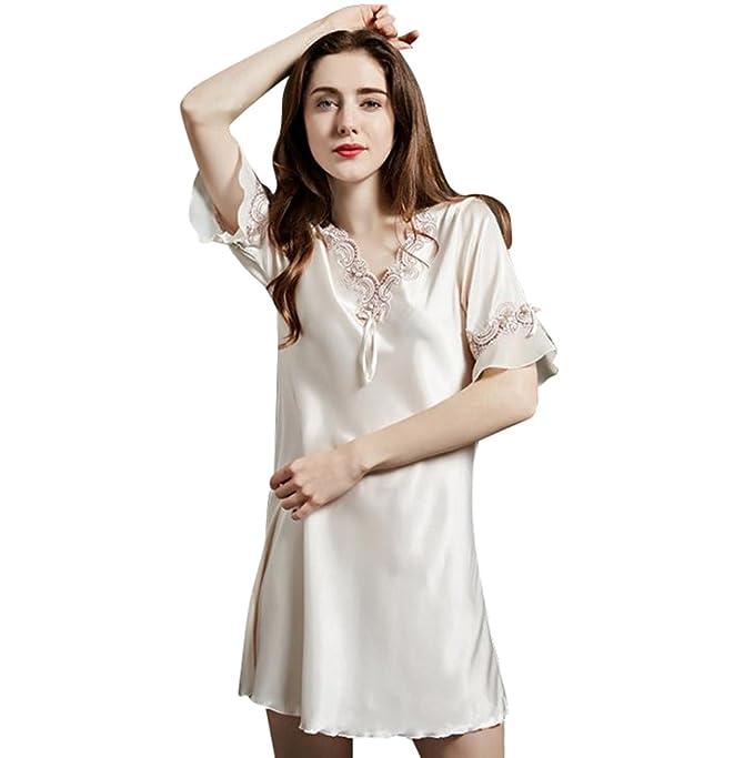 Tookang Mujer Pijama Media Manga Ropa Interior Talla Grande Respirable Delgado Camisón Albaricoque Ligero M