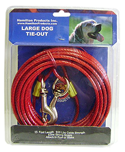Heavy Tie Out 15' (Hamilton Heavy Weight 15-Feet Plastic Coated Large Dog Tie Out Cable)
