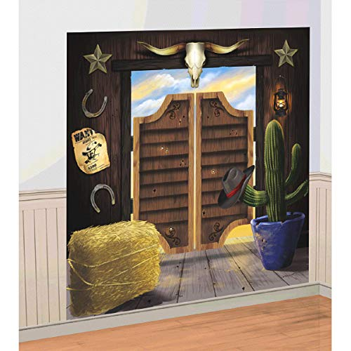 (amscan High Riding Western Party Saloon Door Scene Setter Wall Decorating Kit, Vinyl, 65