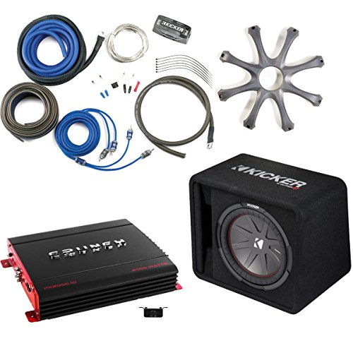 Kicker 43VCWR122 Comp R ported enclosure w/Crunch PX2000.1D 2000 Watt Max Mono Amp, Wiring Kit, grille, and Bass Knob. - Kicker Sub Wiring