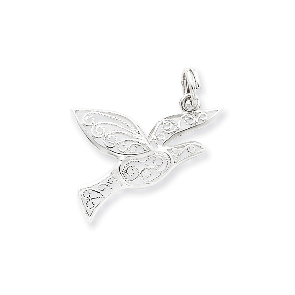 16-20 Mireval Sterling Silver Filigree Holy Spirit Charm on a Sterling Silver Chain Necklace