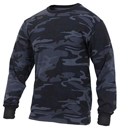 Rothco Long Sleeve Colored Camo T-Shirt, Midnight Blue Camo, ()