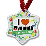 Personalized Name Christmas Ornament, I Love Plymouth region: South West England, England NEONBLOND