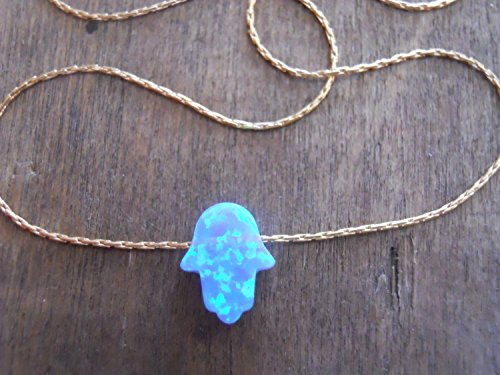 Handmade Designer Dainty Gold Filled Or Sterling Silver Opal Hamsa Pendant Necklace (Hand Forged Circle Necklace)