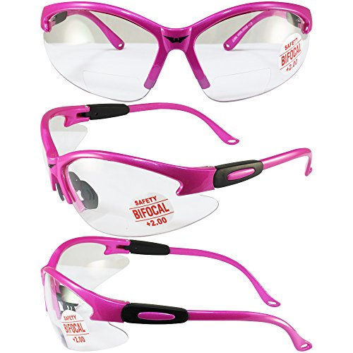 Global Vision Cougar Safety Glasses Hot Pink Frame 2.0x Magnification Clear - Pink Safety Hot Glasses