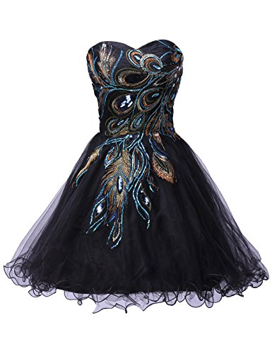 [Black Strapless Prom Dress for Women Sequins Size 14 CL4975-1] (Womens Black Sequin Short Dress)