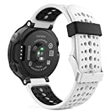 Garmin Forerunner 235 Watch Band, MoKo Soft Silicone Replacement Watch Band for Garmin Forerunner 235 / 220 / 230 / 620 / 630 / 735 Smart Watch - WHITE & BLACK
