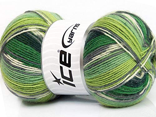 ((1) 100 Gram Super Sock, Greens Black White + Self-Patterning Superwash Wool Sock Yarn)